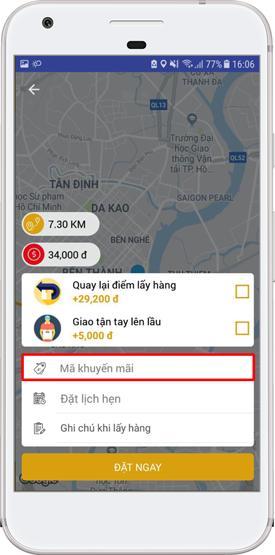 Giao diện nhập code trên mobile